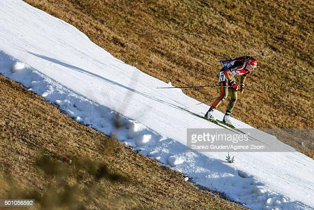 Franziska Preuss of Germany competes during the IBU Biathlon World Cup Men's and Women's Pursuit on December 12 2015 in Hochfilzen Austria