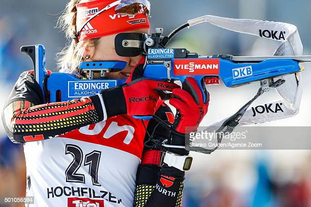 Franziska Preuss of Germany competes during the IBU Biathlon World Cup Men's and Women's Pursuit on December 12 2015 in Hochfilzen Austria
