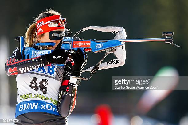 Franziska Preuss of Germany competes during the IBU Biathlon World Cup Women's Sprint on December 18 2015 in Pokljuka Slovenia