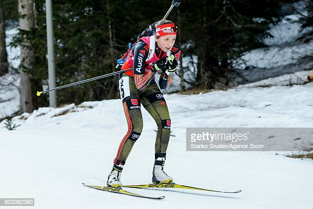 Franziska Preuss of Germany competes during the IBU Biathlon World Cup Men's and Women's Mass Start on December 20 2015 in Pokljuka Slovenia