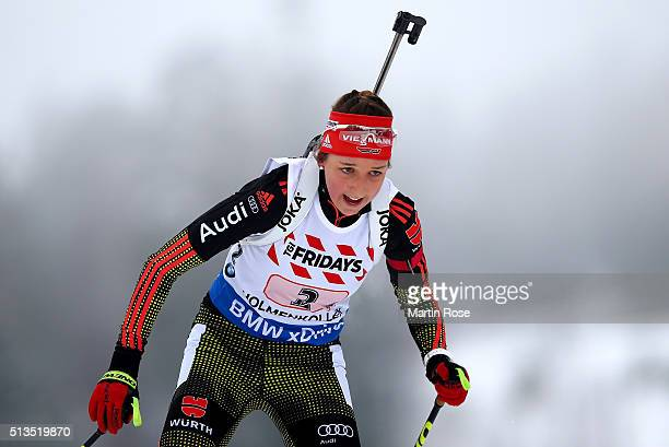 Franziska Preuss of Germany competes during the IBU Biathlon World Championships Mixed Relay at Holmenkollen on March 3 2016 in Oslo Norway