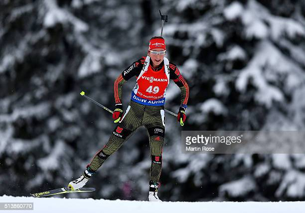 Franziska Preuss of Germany competes in the women's 75km sprint during day three of the IBU Biathlon World Championships at Holmenkollen on March 5...