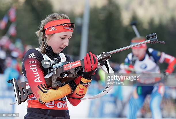 Franziska Preuss of Germany in action during in the womens individual 15km on day three of the EOn IBU World Cup Biathlon on January 10 2014 in...