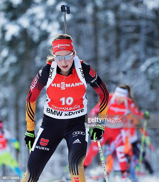 Franziska Preuss of Germany in action during the IBU Biathlon World Cup Women's Mass Start on January 18 2015 in Ruhpolding Germany