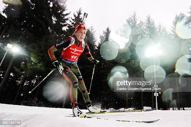 Franziska Preuss of Germany in action during the IBU Biathlon World Cup Men's and Women's Mass Start on December 18 2016 in Nove Mesto na Morave...