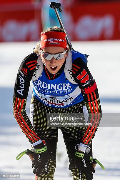 Franziska Preuss of Germany takes 2nd place during the IBU Biathlon World Cup Men's and Women's Relay on December 13 2015 in Hochfilzen Austria