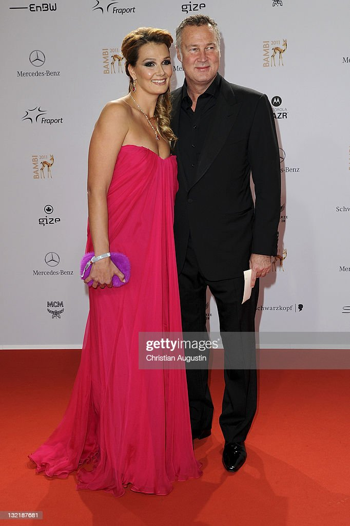 Franziska van Almsick and her husband Juergen Harder attend the Red Carpet for the Bambi Award 2011 ceremony at the RheinMainHallen on November 10...