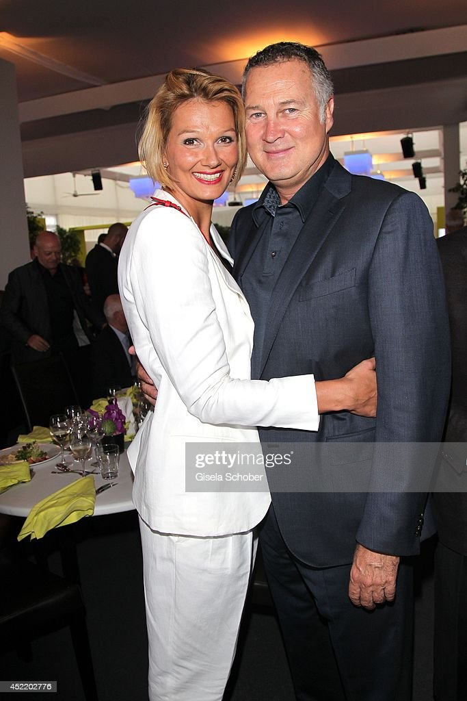 Franziska van Almsick and her partner Juergen B Harder attend the CHIO 2014 media night on July 15 2014 in Aachen Germany