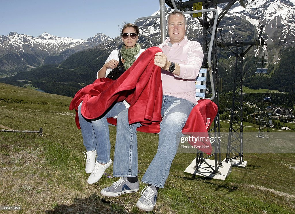 Franziska van Almsick and husband Juergen B Harder arrive on a ski lift to the wedding brunch reception on June 13 2009 in St Moritz Switzerland...