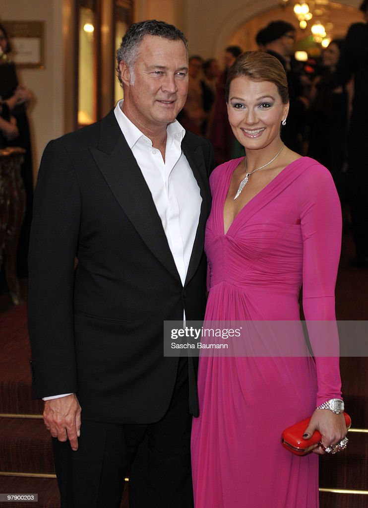 Franziska van Almsick and husband Juergen B Harder attend the Gala Spa Awards at Brenner's Park Hotel on March 20 2010 in Baden Baden Germany