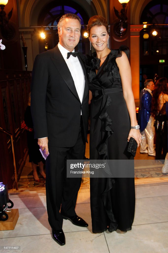 Franziska van Almsick and Juergen B Harder attend the German Opera Ball 2012 at the Alte Oper on February 25 2012 in Frankfurt Germany