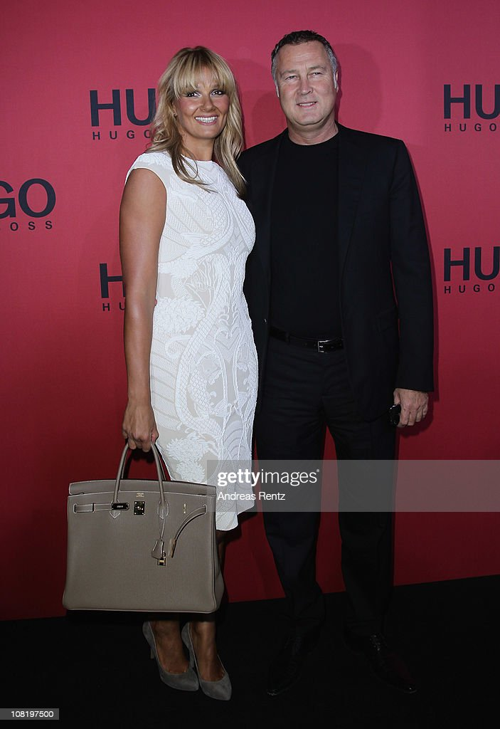 Franziska van Almsick and Juergen B Harder attend the Hugo Boss Show during the Mercedes Benz Fashion Week Autumn/Winter 2011 at Neue Nationalgalerie...