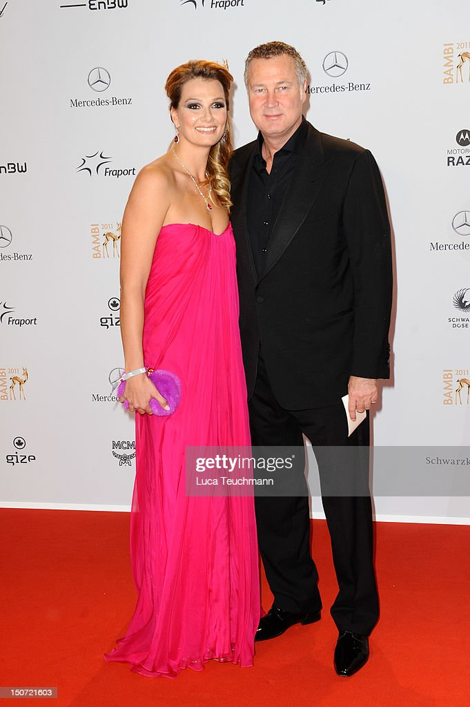 Franziska Van Almsick and Juergen B Harder attend the Red Carpet for the Bambi Award 2011 ceremony at the RheinMainHallen on November 10 2011 in...
