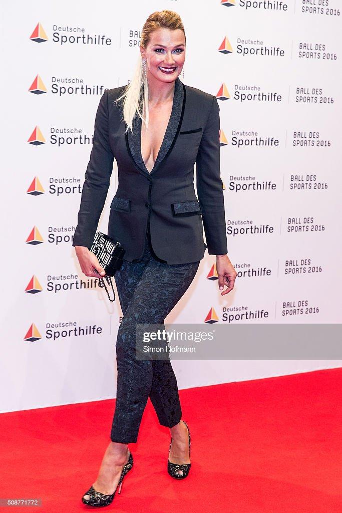 Franziska van Almsick attends German Sports Gala 'Ball des Sports 2016' on February 6, 2016 in Wiesbaden, Germany.