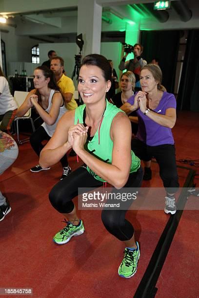 Franziska van Almsick attends the mybode Online Fitness Portal press conference on October 25 2013 in Cologne Germany