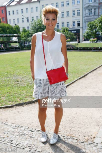 Franziska van Almsick attends the Schumacher show during the MercedesBenz Fashion Week Spring/Summer 2015 at Sankt Elisabeth Kirche on July 10 2014...