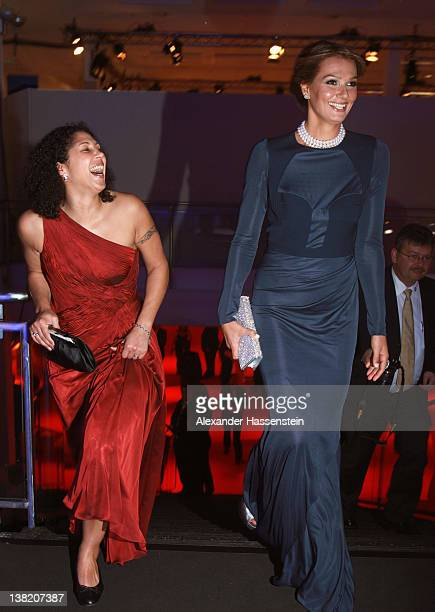 Franziska van Almsick attends with Steffi Jones the 2012 Sports Gala 'Ball des Sports' at the RheinMain Hall on February 4 2012 in Wiesbaden Germany