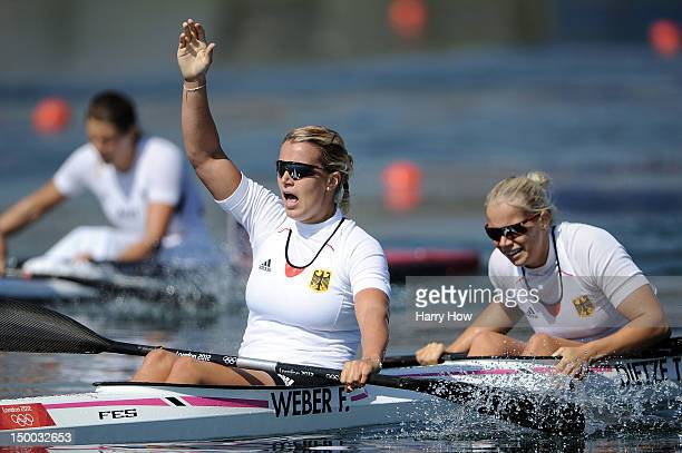 Franziska Weber and Tina Dietze of Germany celebrate winning gold in the Women's Kayak Double 500m Sprint on Day 13 of the London 2012 Olympic Games...