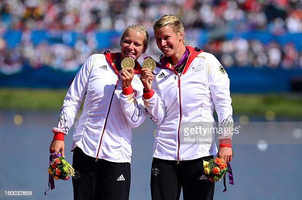 Franziska Weber and Tina Dietze of Germany celebrate winning the Gold medal in the Women's Kayak Double 500m Sprint on Day 13 of the London 2012...