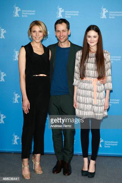 Franziska Weisz Florian Stetter and Lea van Acken attend 'Stations of the Cross' photocall during 64th Berlinale International Film Festival at Grand...