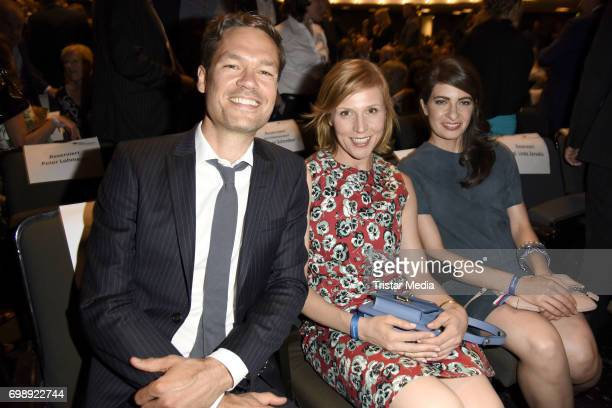Franziska Weisz her husband Felix Herzogenrath and Linda Zervakis attend the Studio Hamburg Nachwuchspreis 2017 at Thalia Theater on June 20 2017 in...