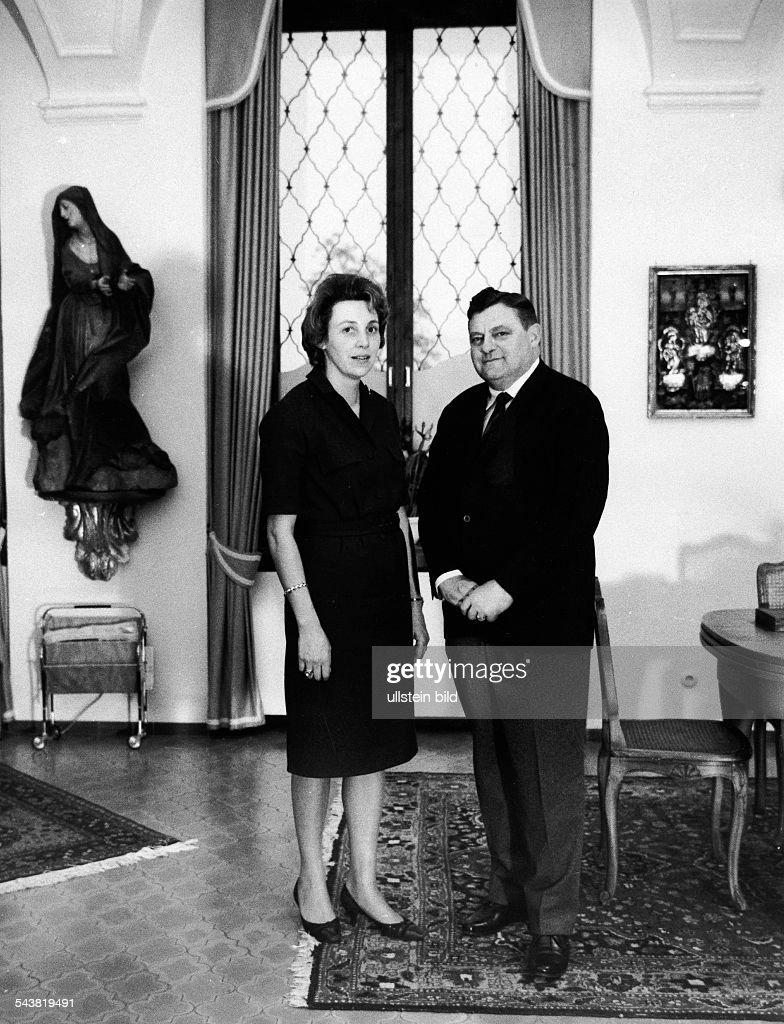 FranzJosef Strauss *Politician CSU Germanywith his wife Monika in his house in Rott am Inn 1965