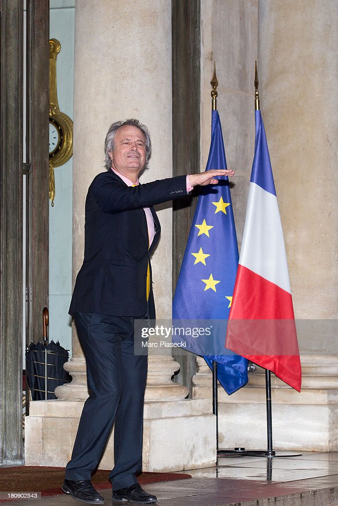 Franz-Olivier Giesbert leaves the 'legion d'honneur' medal ceremony at Elysee Palace on September 17, 2013 in Paris, France.