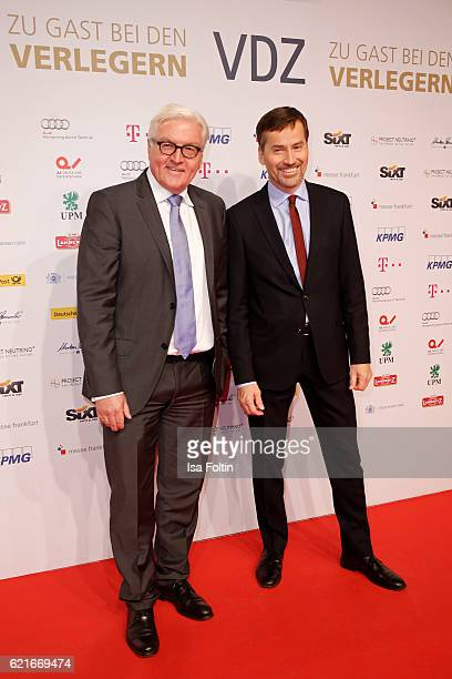 FranzWalter Steinmeier and Stephan Scherzer during the VDZ Publishers' Night 2016 at Deutsce Telekom's representative office on November 7 2016 in...