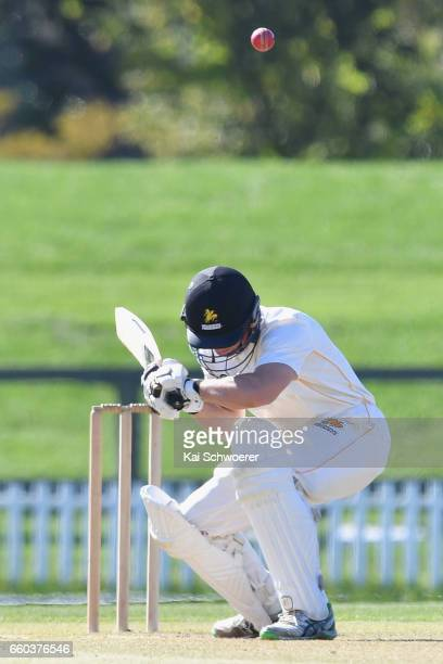 Fraser Colson of Wellington ducks under a bouncer during the Plunket Shield match between Canterbury and Wellington on March 30 2017 in Christchurch...