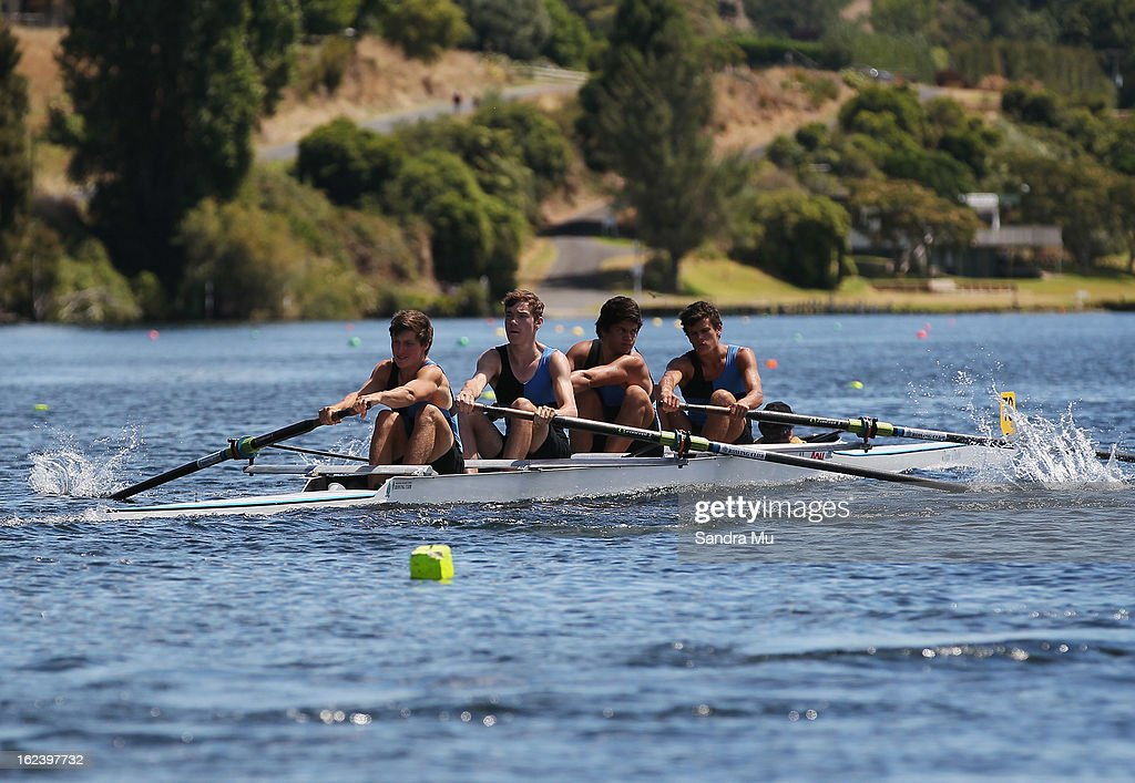 Fraser Craig, Hamish Kelt, Jonathan Osborne and Hugo Crosse race in the Boys U18 coxes four during the New Zealand Junior Rowing Regatta on February 23, 2013 in Auckland, New Zealand.