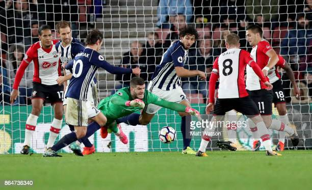 Fraser Forster during the Premier League match between Southampton and West Bromwich Albion at St Mary's Stadium on October 21 2017 in Southampton...