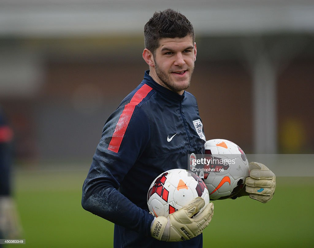 Fraser Forster looks on during England Training at London Colney on November 18, 2013 in St Albans, England.