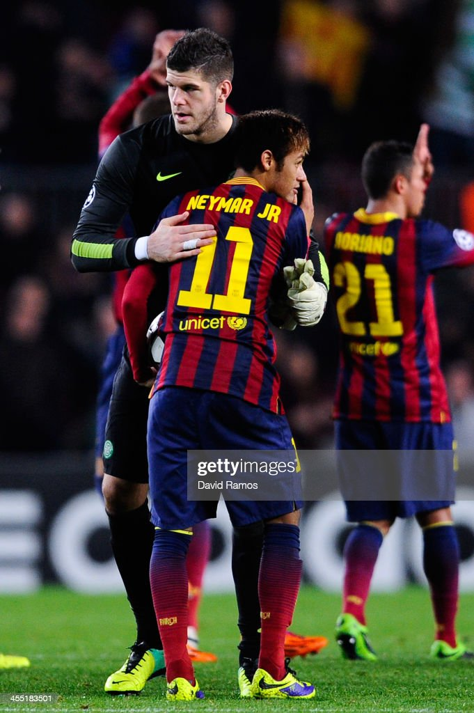 <a gi-track='captionPersonalityLinkClicked' href=/galleries/search?phrase=Fraser+Forster&family=editorial&specificpeople=4185429 ng-click='$event.stopPropagation()'>Fraser Forster</a> of Celtic FC hugs Neymar of FC Barcelona at the end of the Champions League Group H match between FC Barcelona and Celtic FC at Camp Nou on December 11, 2013 in Barcelona, Spain.