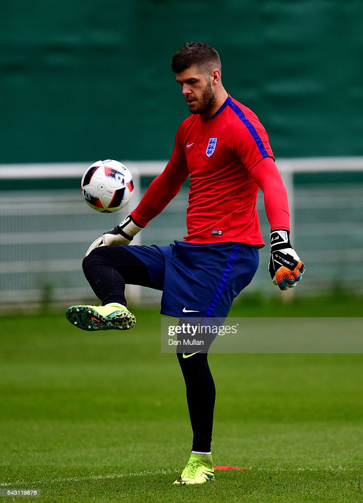 <a gi-track='captionPersonalityLinkClicked' href=/galleries/search?phrase=Fraser+Forster&family=editorial&specificpeople=4185429 ng-click='$event.stopPropagation()'>Fraser Forster</a> of England in action during a training session ahead of the UEFA Euro 2016 match against Iceland at Stade du Bourgognes on June 26, 2016 in Chantilly, France.