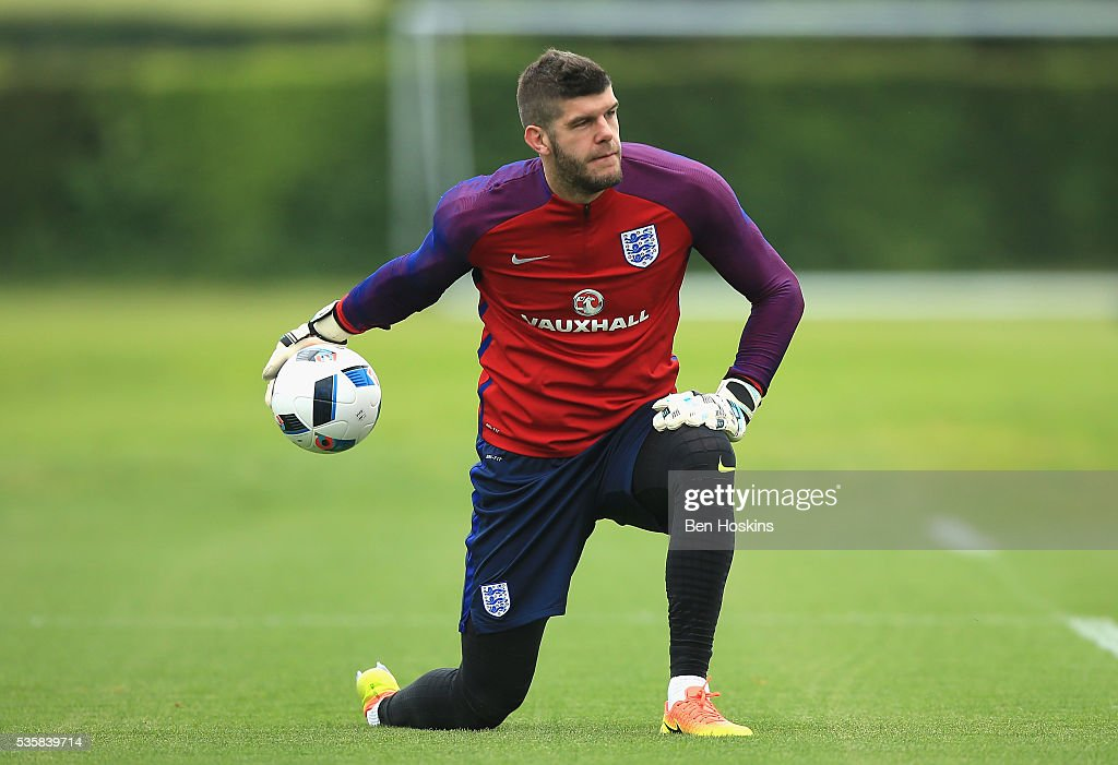 <a gi-track='captionPersonalityLinkClicked' href=/galleries/search?phrase=Fraser+Forster&family=editorial&specificpeople=4185429 ng-click='$event.stopPropagation()'>Fraser Forster</a> of England in action during an England training session at London Colney on May 30, 2016 near St Albans, England.