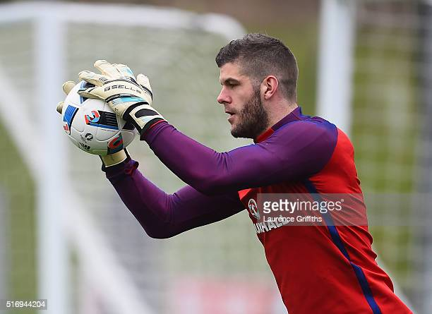 Fraser Forster of England in action during England Training Session and Press Conference at St Georges Park on March 22 2016 in BurtonuponTrent...