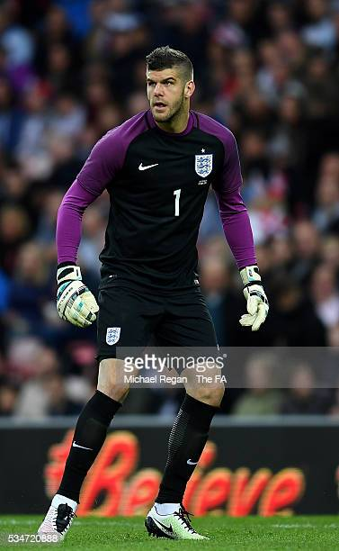 Fraser Forster of England in action during the International Friendly match between England and Australia at Stadium of Light on May 27 2016 in...