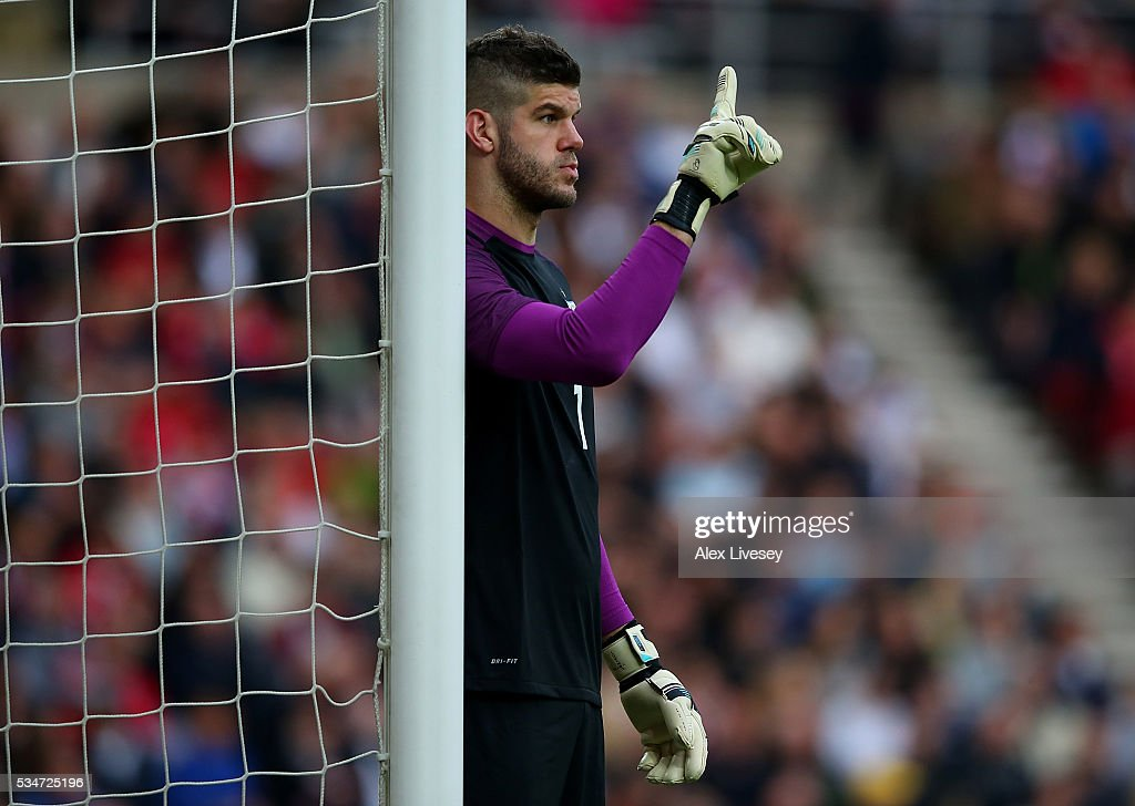<a gi-track='captionPersonalityLinkClicked' href=/galleries/search?phrase=Fraser+Forster&family=editorial&specificpeople=4185429 ng-click='$event.stopPropagation()'>Fraser Forster</a> of England in action during the International Friendly match between England and Australia at Stadium of Light on May 27, 2016 in Sunderland, England.