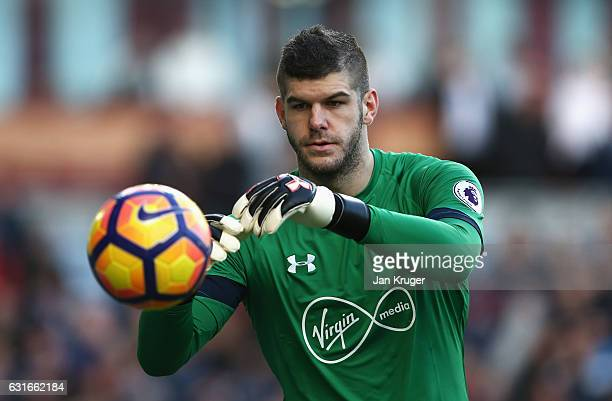 Fraser Forster of Southampton catches the ball during the Premier League match between Burnley and Southampton at Turf Moor on January 14 2017 in...