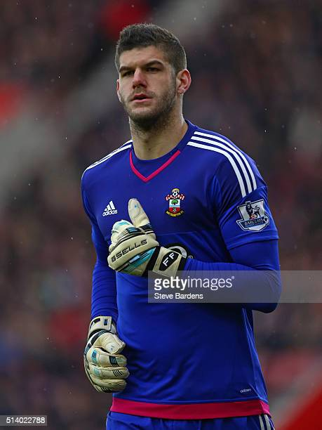 Fraser Forster of Southampton during the Barclays Premier League match between Southampton and Sunderland at St Mary's Stadium on March 5 2016 in...