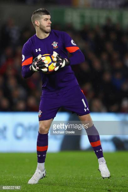 Fraser Forster of Southampton during the Premier League match between Swansea City and Southampton at the Liberty Stadium on January 31 2017 in...