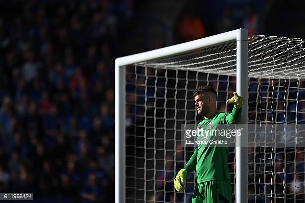 Fraser Forster of Southampton in action during the Premier League match between Leicester City and Southampton at The King Power Stadium on October 2...
