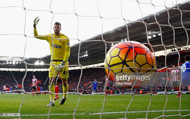 Fraser Forster of Southampton reacts after Chelsea's first goal during the Barclays Premier League match between Southampton and Chelsea at St Mary's...