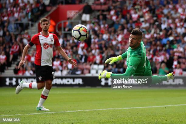 Fraser Forster of Southampton watches the ball during the Premier League match between Southampton and West Ham United at St Mary's Stadium on August...