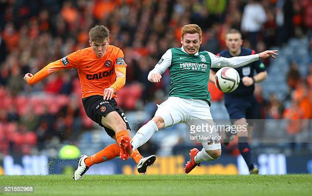 Fraser Fyvie of Hibernian trys to block Blair Spittal of Dundee United as he shoots at goal during the Scottish Cup Semi Final between Hibernian and...