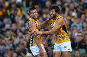 Fraser McInnes of the Eagles and Josh Kennedy of the Eagles celebrate a goal during the round nine AFL match between the West Coast Eagles and the...