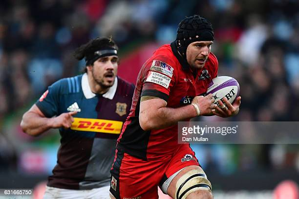 Fraser McKenzie of Edinburgh makes a break to score his side's first try during the European Rugby Challenge Cup Pool 5 match between Harlequins and...