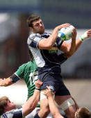Fraser McKenzie of Scotland wins the ball during the IRB Junior World Championships game between Ireland and Scotland on June 22 2008 at Rodney...