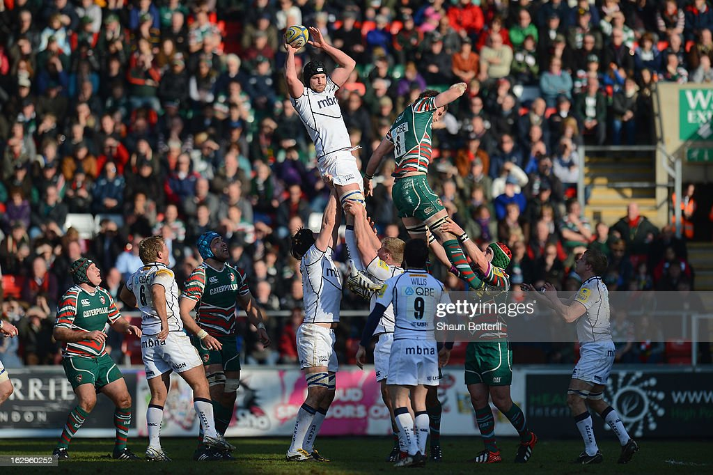 Fraser McKenzie oif Sale Sharks wins the line-out ball during the Aviva Premiership match between Leicester Tigers and Sale Sharks at Welford Road on March 2, 2013 in Leicester, England.