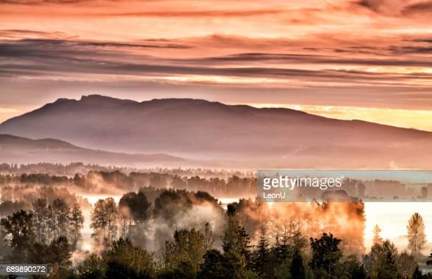 Fraser Valley sunrise in autumn, BC, Canada